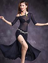 Dança do Ventre Vestidos Mulheres Apresentação Tule 1 Peça Meia manga Natural Vestido