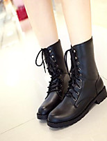 Women's Shoes PU Winter Comfort Boots Chunky Heel Round Toe For Casual Black