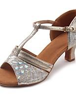 Women's Latin Sparkling Glitter Glitter Leatherette Sandal Heel Beginner Sequin Buckle Sparkling Glitter Cuban Heel Gold 2
