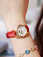Women's Fashion Watch Quartz Water Resistant / Water Proof Leather Band Sparkle Red Brown