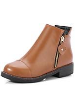 Для женщин Обувь Полиуретан Осень Зима Удобная обувь Ботинки На низком каблуке Круглый носок Молнии Назначение Черный Винный Темно-русый