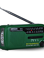 DE13 Rádio portátil Alimentação Solar Lanterna Verde