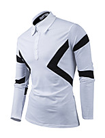 Men's Casual/Daily Simple Spring Fall Polo,Solid Color Block Shirt Collar Long Sleeves Polyester