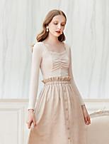 Tee-shirt Femme,Couleur Pleine Sortie Décontracté / Quotidien simple Mignon Automne Hiver Manches Longues Col Carré Coton Moyen