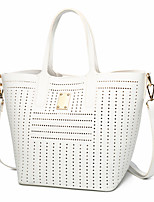 Women Bags All Seasons PU Tote Beading for Shopping Casual Black Milky White Light Grey Wine