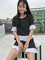Women's Going out Vintage Summer Blouse Pant Suits,Polka Dot Round Neck Short Sleeve
