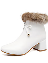 Women's Shoes Leatherette Fall Winter Fashion Boots Boots Chunky Heel Closed Toe Booties/Ankle Boots Bowknot Zipper For Casual Dress