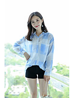Women's Going out Casual/Daily Simple Cute Street chic Spring Fall Shirt,Plaid Shirt Collar Long Sleeves Cotton Others Thin Medium