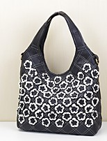 Women Bags All Seasons Cowhide Shoulder Bag Appliques Tiered for Casual Office & Career Rainbow Black/White