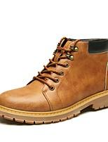 Masculino Oxfords Coturnos Sapatos formais Outono Inverno Couro Casual Work & Safety Elástico Rasteiro Salto Baixo Cinzento Amarelo Marron