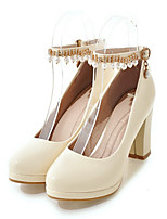 Women's Shoes PU Spring Fall Comfort Novelty Heels Chunky Heel Round Toe Rivet Buckle For Wedding Party & Evening Blushing Pink Beige
