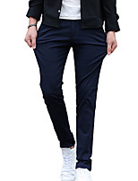 Men's Mid Rise Micro-elastic Chinos PantsSimple Straight Solid HD-8812