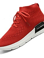 Women's Shoes Tulle Spring Fall Comfort Light Soles Sneakers Low Heel Round Toe Lace-up For Casual Red Black White