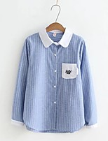 Women's Going out Casual/Daily Simple Cute Street chic Spring Fall Shirt,Striped Color Block Shirt Collar Long Sleeves Cotton Linen Thin