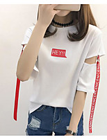 Women's Going out Casual/Daily Simple Summer T-shirt,Solid Letter Round Neck Half Sleeves Cotton Spandex