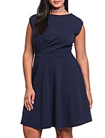 Women's Plus Size Casual/Daily Work Simple Shift Sheath Dress,Solid Round Neck Mini Above Knee Sleeveless Polyester All Seasons Low Rise