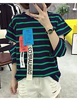 Damen Gestreift Einfach Ausgehen T-shirt,Rundhalsausschnitt Sommer Halbe Ärmel Baumwolle Mittel