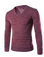 Men's Sports Casual/Daily Vintage Simple Regular Pullover,Solid V Neck Long Sleeves Cotton Polyester Fall Winter Medium Micro-elastic