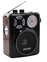 336UR Radio portable Lecteur MP3 Torche Bluetooth Carte SDWorld ReceiverMarron Rouge