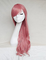 Women Synthetic Wig Capless Long Wavy Pink With Bangs Party Wig Halloween Wig Natural Wigs Costume Wig