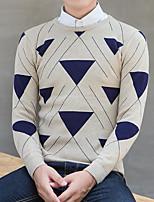 Men's Casual/Daily Regular Pullover,Print Round Neck Long Sleeves Cotton Winter Medium Micro-elastic