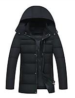 Men's Long Padded Coat,Simple Casual/Daily Solid-Cotton Polyester Long Sleeves