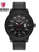 Men's Dress Watch Fashion Watch Chinese Quartz Calendar Leather Band Charm Luxury Cool Casual Black