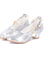 Girls' Shoes Paillette Spring Fall Comfort Novelty Flats Pearl Buckle For Party & Evening Dress Blushing Pink Silver Gold