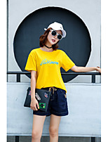 Women's Plus Size Casual/Daily Vintage Street chic Summer Fall T-shirt,Embroidery Round Neck Short Sleeves Cotton Medium