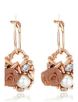 Women's Drop Earrings Imitation Pearl AAA Cubic Zirconia Bohemian Gold Plated Flower Jewelry For Party Birthday Daily Office & Career