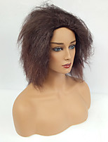 Women Synthetic Wig Capless Medium Yaki Brown With Bangs Party Wig Costume Wig