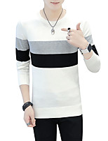 Men's Casual/Daily Work Simple Boho Street chic Long Pullover,Striped Print Color Block Round Neck Long Sleeves Cotton Fall Winter Medium