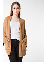 Women's Casual/Daily Simple Long Cardigan,Solid Halter Long Sleeves Wool Cotton Polyester Fall Winter Medium Micro-elastic