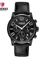 Men's Dress Watch Fashion Watch Chinese Quartz Calendar Leather Band Charm Unique Creative Luxury Cool Casual Black Brown