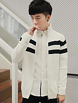 Men's Casual/Daily Regular Cardigan,Color Block Stand Long Sleeves Others Spring Winter Medium Micro-elastic
