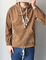 Men's Sports Casual/Daily Hoodie Letter Hooded Micro-elastic Cotton Long Sleeve Fall Winter