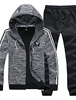 Men's Sports Casual/Daily Simple Set Solid Hooded Micro-elastic Polyester Long Sleeve Fall Winter