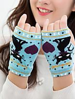 Women's Acrylic Knitwear Wrist Length Half Finger,Casual Cartoon Winter Gloves Keep Warm Lovely Fashion Knitwear Jacquard Fall Winter