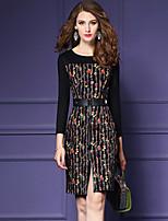 Damen Bodycon Hülle Kleid-Ausgehen Lässig/Alltäglich Einfach Street Schick Anspruchsvoll Druck Rundhalsausschnitt Übers Knie Langarm