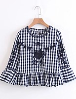 Women's Going out Casual/Daily Simple Street chic Spring Fall Shirt,Embroidery Check Round Neck 3/4 Length Sleeves Others Thin Medium