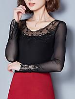 Tee-shirt Femme,Couleur Pleine Sortie Décontracté / Quotidien simple Automne Hiver Manches Longues Col Arrondi Polyester Moyen