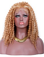 Women Synthetic Wig Lace Front Medium Kinky Curly Golden Brown Middle Part Sew in 100% kanekalon hair With Baby Hair Natural Wigs Costume