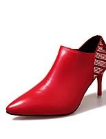 Damen Schuhe PU Herbst Springerstiefel Stiefel Stöckelabsatz Spitze Zehe Reißverschluss Für Normal Schwarz Beige Rot
