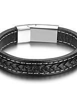 Homme Bracelet Mode Cuir Forme Géométrique Bijoux Pour Décontracté