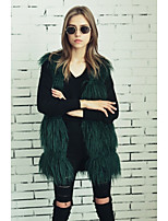Women's Casual/Daily Work Simple Active Street chic Spring Fall Fur Coat,Solid V Neck Sleeveless Regular Faux Fur Polyester Others