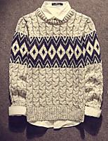 Men's Casual/Daily Regular Pullover,Print Round Neck Long Sleeves Cotton Fall Medium Micro-elastic