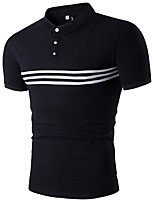 Men's Sports Casual/Daily Simple Active Polo,Striped Round Neck Short Sleeves Polyester