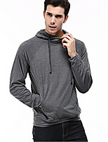 Men's Plus Size Casual/Daily Simple Hoodie Solid Hooded Micro-elastic Cotton Long Sleeve Spring Fall