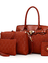Women Bags All Seasons PU Bag Set Zipper for Casual Office & Career Gold White Black Red Brown