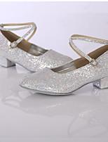 Damen Modern Glanz Kunstleder Sneaker Innen Glitter Maßgefertigter Absatz Silber Maßfertigung
